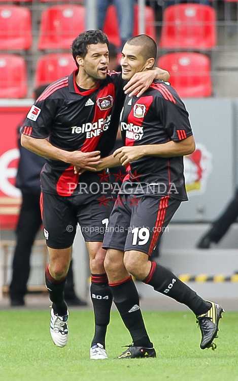 29.08.2010,  BayArena, Leverkusen, GER, 1. FBL, Bayer Leverkusen vs Borussia Moenchengladbach, 2. Spieltag, im Bild: Jubel Eren Derdiyok (Leverkusen #19 / Torschuetze ) mit Michael Ballack (Leverkusen #13) nach dem 1:1   EXPA Pictures © 2010, PhotoCredit: EXPA/ nph/  Mueller+++++ ATTENTION - OUT OF GER +++++