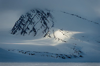 Stray light on the mountains north of Spitsbergen, Svalbard.