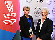 NZOC CEO and newly elected Vice President of the CGF Kereyn SMith and newly elected President of the Commonwealth Games Federation Louise Martin. Durban in South Africa is named as the host city for the Commowealth Games in 2022 during the Annual Commonwealth Games Federation General Assembly. Pullman Hotel, Auckland on Wednesday 2 September 2015. Copyright photo: Andrew Cornaga/www.photosport.nz