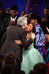 Yalitza Aparicio hugs Oscar winner Alfonso Cuaron at The 91st Oscars® at the Dolby® Theatre in Hollywood, CA on Sunday, February 24, 2019.