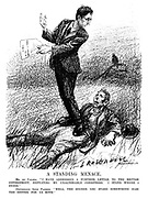 "A Standing Menace. Mr De Valera. ""I have addressed a further letter to the British government, repeating my unalterable conditions. I stand where I stood."" Distressed Irish farmer. ""Well, the sooner you stand somewhere else the better for us both."" (an Interwar cartoon shows Eamon de Valera standing ontop of an Irish farmer lying on his back)"