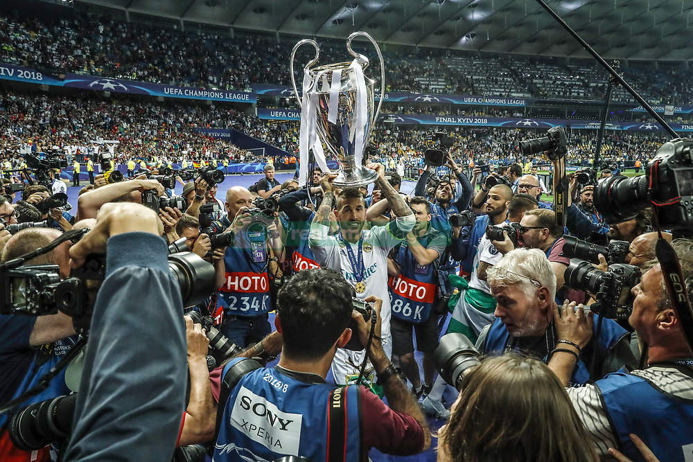 Sergio Ramos of Real Madrid with UEFA Champions League trophy, Coupe des clubs Champions Europeens during the UEFA Champions League final between Real Madrid and Liverpool on May 26, 2018 at NSC Olimpiyskiy Stadium in Kyiv, Ukraine