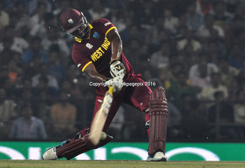 Johnson Charles of t Indian catch by FAF du Plessis bowled David Wiese of South Africa not in the picture during the 2016 ICC World T20 cricket match between South Africa and West Indies at Vidharbha Cricket Association, Jamtha, India on 25 March 2016 ©BackpagePix