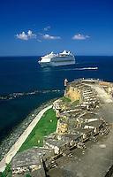 Cruise ship entering San Juan harbor