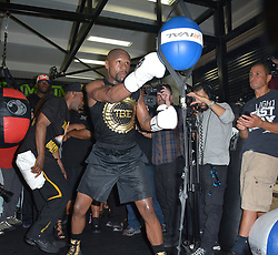 August 10, 2017 - Las Vegas, Nevada, United States of America - Boxer Floyd Mayweather jr  hosts Las Vegas Media workout ahead his upcoming fight with MMA fighter Connor McGregor at Mayweather Boxing Club on August 10, 2017 in Las Vegas, Nevada (Credit Image: © Marcel Thomas via ZUMA Wire)