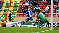 Photo: Ed Godden.<br />Bristol City v Brighton & Hove Albion. Coca Cola League 1. 02/09/2006. Bristol City keeper Adriano Basso (R) saves Jake Robinson's shot on goal.
