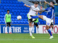 Football - 2019 / 2020 Championship - Play-off semi-final - 1st leg - Cardiff City vs Fulham<br /> <br /> Marlon Pack of Cardiff City & Tom Cairney of Fulham<br /> in a match played with no crowd due to Covid 19 coronavirus emergency regulations, in an almost empty ground, at the Cardiff City Stadium<br /> <br /> COLORSPORT/WINSTON BYNORTH