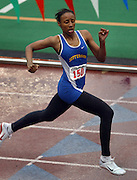 05/13/2009 - Jefferson's Deanna Emanuel (150) cruises to a win during the women's 200 meter dash. The 5A PIL Varsity District Track Meet takes place at Lewis and Clark College....KEYWORDS:  City, Portland, high school, girls, boys, run, field, sports