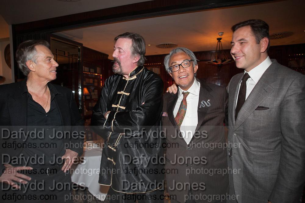 TONY BLAIR; STEPHEN FRY;  SIR DAVID TANG; DAVID WALLIAMS, Chinese New Year dinner given by Sir David Tang. China Tang. Park Lane. London. 4 February 2013.