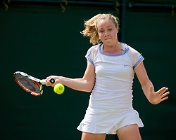 LONDON, ENGLAND - Saturday, June 27, 2009: Hannah James (GBR) during the Girls' Singles 1st Round match on day six of the Wimbledon Lawn Tennis Championships at the All England Lawn Tennis and Croquet Club. (Pic by David Rawcliffe/Propaganda)