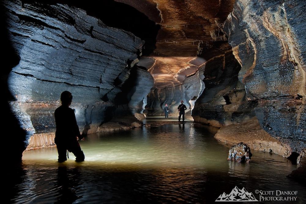 Multi-flash shot in large cave passage.