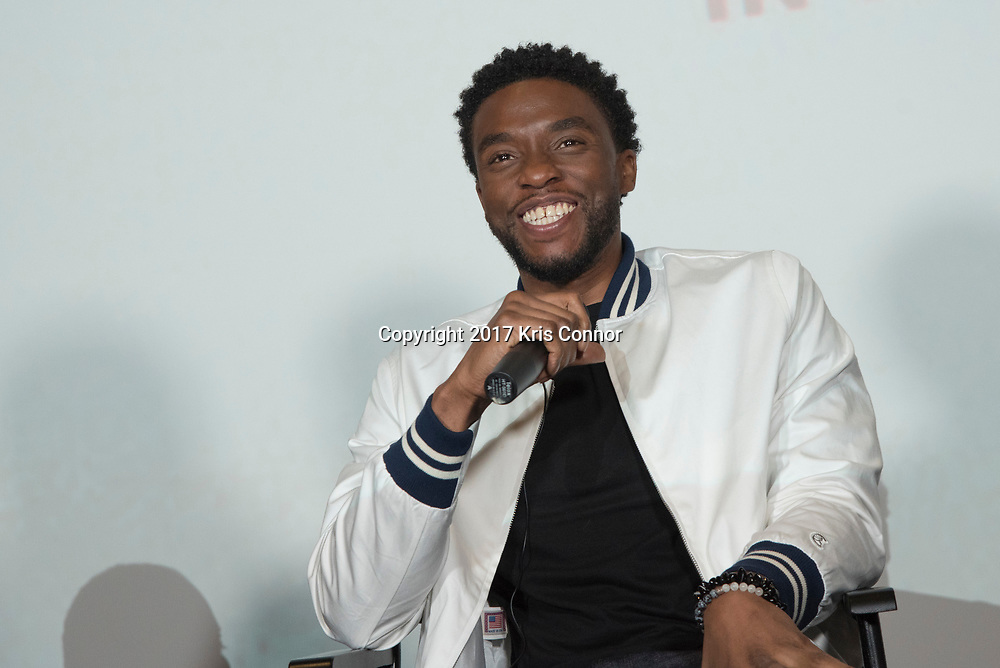 Actor Chadwick Boseman speaks during a Q&A session after a screening of Open Road Films' new movie MARSHALL at in Baltimore, Md. on July 25th, 2017. (Photo by Kris Connor/Open Road Films)