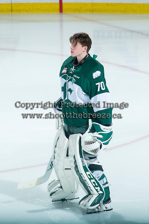 KELOWNA, CANADA - FEBRUARY 2:  Carter Hart #70 of the Everett Silvertips stands on the ice during the national anthem against the Kelowna Rockets on FEBRUARY 2, 2018 at Prospera Place in Kelowna, British Columbia, Canada.  (Photo by Marissa Baecker/Shoot the Breeze)  *** Local Caption ***