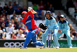 Afghanistan's Gulbadin Naib is out caught by England's Ben Stokes during the ICC Cricket World Cup Warm up match at The Oval, London.