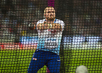 Athletics - 2017 IAAF London World Athletics Championships - Day Eight, Evening Session<br /> <br /> Mens Hammer Final<br /> <br /> Nick Miller (Great Britain) in the hammer cage at the London Stadium<br /> <br /> COLORSPORT/DANIEL BEARHAM