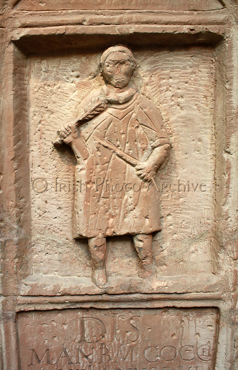 Sandstone tombstone of Marcus Cocceius Nonnus, aged six. Roman, about AD 96-98. From a tomb near the Roman fort at Penrith, Cumbria. The boy is portrayed as a vicarious charioteer, with a whip and palm of victory. His family was granted Roman citizenship by the emperor Nerva (AD 96-98)