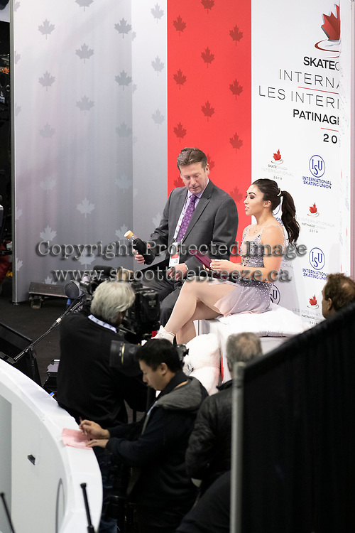 KELOWNA, BC - OCTOBER 26: Canadian figure skater Gabrielle Daleman awaits her score ladies long program of Skate Canada International held at Prospera Place on October 26, 2019 in Kelowna, Canada. (Photo by Marissa Baecker/Shoot the Breeze)