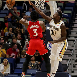 Oct 11, 2018; New Orleans, LA, USA; New Orleans Pelicans forward Julius Randle (30) defends against Toronto Raptors forward OG Anunoby (3) during the first half at the Smoothie King Center. Mandatory Credit: Derick E. Hingle-USA TODAY Sports