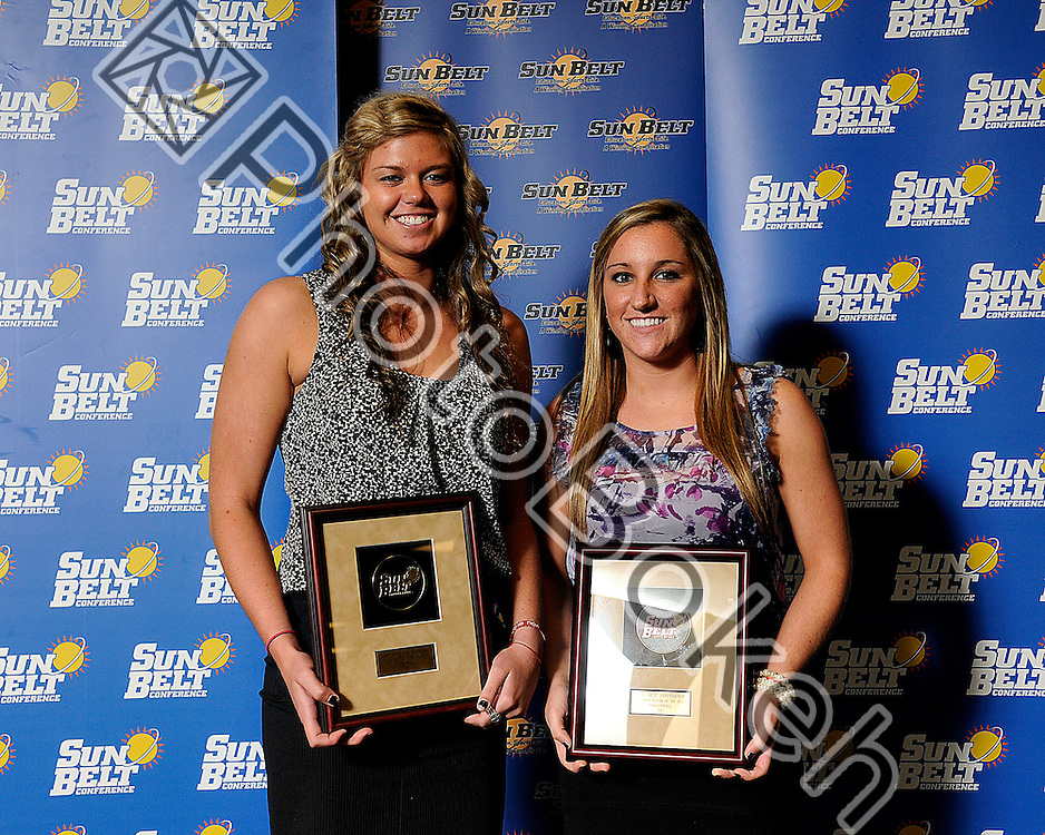 2011 November 16 - WKU Defensive Player of the Year Ashley Potts and Player of the Year Jordyn Skinner. Florida International University hosted the 2011 Sunbelt Volleyball Banquet at the Stadium Club in Alfonso Field, Miami, Florida. (Photo by: www.photobokeh.com / Alex J. Hernandez) 1/250 f/4 ISO400 46mm
