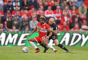Middlesbrough forward Adama Traore (37) battles with Aston Villa defender Alan Hutton (21) during the EFL Sky Bet Championship match between Middlesbrough and Aston Villa at the Riverside Stadium, Middlesbrough, England on 12 May 2018. Picture by Jon Hobley.