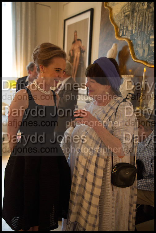 MAUREEN FOOTER; MIN HOGG, Nicky Haslam hosts a party to launch a book by  Maureen Footer 'George Stacey and the Creation of American Chic' . With a foreword by Mario Buatta. Kensington. London. 11 June 2014