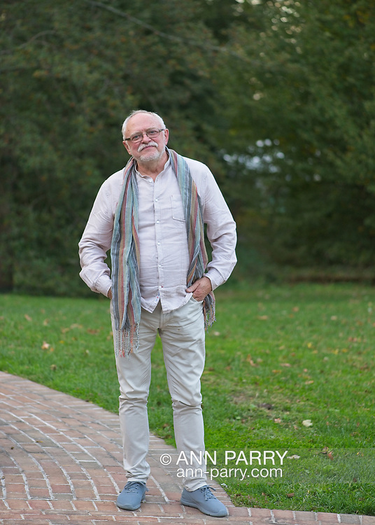 Old Westbury, New York, U.S. October 19, 2019. Jerzy Kędziora (Jotka) participates in Closing Reception for his Balance in Nature outdoor sculptures exhibit, held at Old Westbury Gardens, which presented event in collaboration with The Polish Cultural Institute NY, in association with Art & Balance Foundation of Poland.