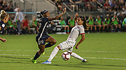 Olympique Lyonnais midfielder Amel Majri (6) looks to intercept a pass to North Carolina Courage forward Crystal Dunn (19) during an International Champions Cup women's soccer game, Sunday, Aug. 18, 2019, in Cary, Olympique Lyonnais bested the North Carolina Courage 1-0 in the finals.  (Brian Villanueva/Image of Sport)