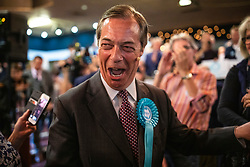 © Licensed to London News Pictures. 19/05/2019. Frimley, UK. Leader of The Brexit Party Nigel Farage arrives at a rally in Frimley, Surrey. Photo credit: Rob Pinney/LNP