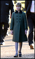 Lady Louise Windsor the daughter of the The Earl and Countess of Wessex joins The Queen as they attend Church on the Sandringham estate, Sandringham, Norfolk, United Kingdom. Sunday, 29th December 2013. Picture by Andrew Parsons / i-Images
