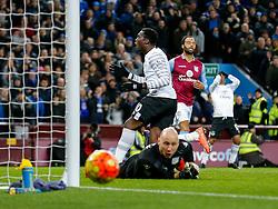 Romelu Lukaku of Everton looks frustrated after Brad Guzan of Aston Villa pushes his shot wide - Mandatory byline: Rogan Thomson/JMP - 01/03/2016 - FOOTBALL - Villa Park Stadium - Birmingham, England - Aston Villa v Everton - Barclays Premier League.