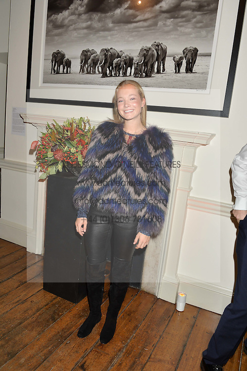 JADE YARROW daughter of David Yarrow at a private view of photographs by renowned wildlife photographer David Yarrow in aid of TUSK entitled 'Wild Encounters' held at Somerset House on 19th September 2016.