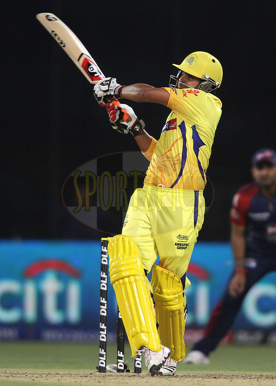 Suresh Raina of the Chennai Super Kings pulls a delivery to the boundary during match 11 of the the Indian Premier League ( IPL) 2012  between The Delhi Daredevils and the Chennai Superkings held at the Feroz Shah Kotla, Delhi on the 10th April 2012..Photo by Shaun Roy/IPL/SPORTZPICS