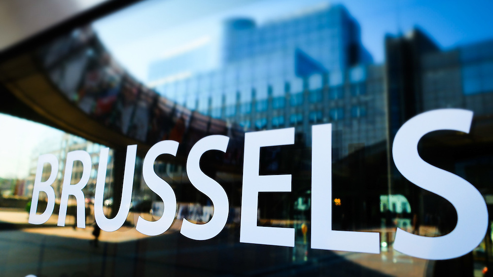 European Parliament headquarters in Brussels - Spring season.<br /> ' Inside-out ' Photo exhibition on passerelle Adenauer