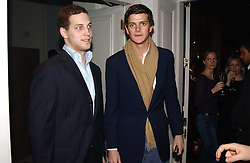 Left to right, LORD FREDERICK WINDSOR and the HON.ALEXANDER SPENCER-CHURCHILL at a party to celebrate the 4th anniversary of Quintessentially held at 11 Grosvenor Place, London  SW1 on 14th December 2004.<br />