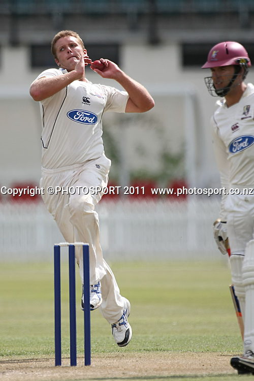 Brad Wilson in action for the Knights ,Cricket, Northern Knights Vs The Auckland Ace's during day two of their Plunket Shield Game at Seddon Park in Hamilton, Tuesday 15 March 2011.<br /> Photo: Dion Mellow / photosport.co.nz