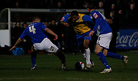 Photo: Steve Bond/Sportsbeat Images.<br />Macclesfield Town v Hereford United. Coca Cola League 2. 26/12/2007. Simon Johnson (C) on a run.  Sean Hessey (L) and Kevin McIntyre (R) about to challange