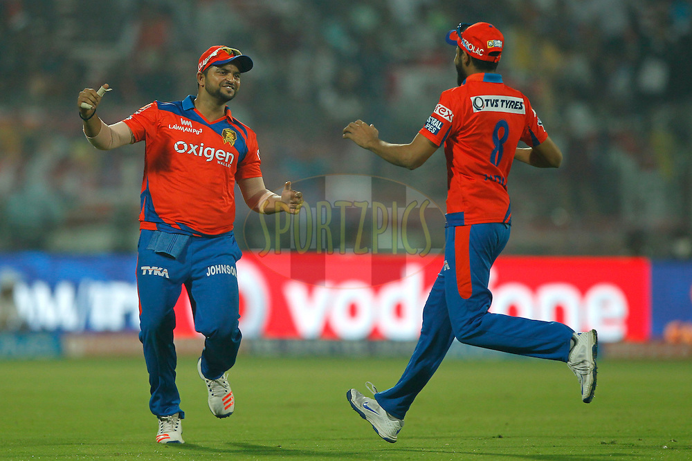 Gujarat Lions captain Suresh Raina celebrates the wicket of Quinton de Kock of Delhi Daredevils during match 23 of the Vivo IPL ( Indian Premier League ) 2016 between the Delhi Daredevils and the Gujarat Lions held at The Feroz Shah Kotla Ground in Delhi, India,  on the 27th April 2016<br /> <br /> Photo by Deepak Malik / IPL/ SPORTZPICS