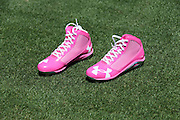 LOS ANGELES, CA - MAY 12:  A pair of pink cleats lie on the grass ready for use in honor of Mother's Day at the Los Angeles Dodgers game against the Miami Marlins on Sunday, May 12, 2013 at Dodger Stadium in Los Angeles, California. The Dodgers won the game 5-3. (Photo by Paul Spinelli/MLB Photos via Getty Images)