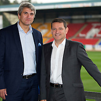 Former St Johnstone player Attila Sekerlioglu pictured with Chairman Steve Brown at McDiarmid Park whilst on a trip to the UK...02.10.13<br /> Picture by Graeme Hart.<br /> Copyright Perthshire Picture Agency<br /> Tel: 01738 623350  Mobile: 07990 594431