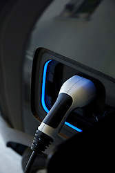 Electric Car Charging, Close-up View