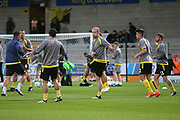 Burton Albion  forward Liam Boyce(27) warms up during the second round or the Carabao EFL Cup match between Burton Albion and Aston Villa at the Pirelli Stadium, Burton upon Trent, England on 28 August 2018.