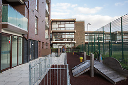 London, UK. 26th March, 2019. A communal play space at Henley Homes' 149-home Baylis Old School complex in Lambeth which children from Wren Mews, a social housing block, are permitted to use. Henley Homes and Lambeth Council have been widely criticised because of the manner in which communal play spaces at the development have been segregated so as deny children living in social housing access to play with the children of wealthier families who have purchased accommodation in the development. Planning permission for the development was granted on condition that it include a mix of affordable and social housing.
