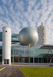 Modern building of Ahhaa science center and Tigutorn in Tartu, Estonia.