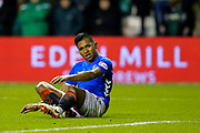 Alfredo Morelos (#20) of Rangers reacts after missing an opportunity during the Ladbrokes Scottish Premiership match between Hibernian and Rangers at Easter Road, Edinburgh, Scotland on 19 December 2018.