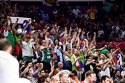 Supporters of Slovenia during basketball match between National Teams of Slovenia and Latvia at Day 13 in Round of 16 of the FIBA EuroBasket 2017 at Sinan Erdem Dome in Istanbul, Turkey on September 12, 2017. Photo by Vid Ponikvar / Sportida