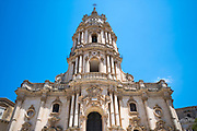 Front elevation and tower of of Baroque style Cathedral of San Giorgio in Modica Alta ancient city, South East Sicily