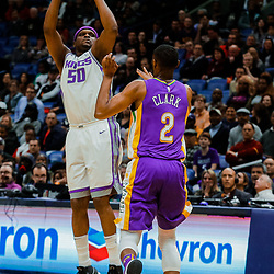 Jan 30, 2018; New Orleans, LA, USA; Sacramento Kings forward Zach Randolph (50) shoots over New Orleans Pelicans guard Ian Clark (2) during the second quarter at the Smoothie King Center. Mandatory Credit: Derick E. Hingle-USA TODAY Sports