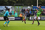 Forest Green Rovers Christian Doidge(9) has an attempt on goal during the EFL Sky Bet League 2 match between Forest Green Rovers and Exeter City at the New Lawn, Forest Green, United Kingdom on 9 September 2017. Photo by Shane Healey.