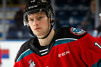 KELOWNA, BC - NOVEMBER 6: Michael Farren #16 of the Kelowna Rockets warms up against the Victoria Royals  at Prospera Place on November 6, 2019 in Kelowna, Canada. (Photo by Marissa Baecker/Shoot the Breeze)