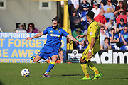 AFC Wimbledon defender George Francomb (7) clearing the ball during the EFL Sky Bet League 1 match between AFC Wimbledon and Bristol Rovers at the Cherry Red Records Stadium, Kingston, England on 8 April 2017. Photo by Matthew Redman.